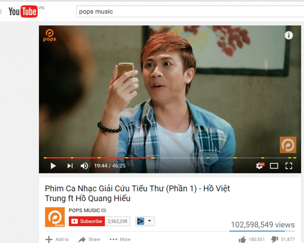 pops music dai dien duy nhat viet nam lot top 100 kenh youtube co luot xem nhieu nhat the gioi